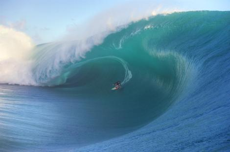 Keala Kennelly has been nominated for the Pure Scot Barrel of the Year Award for this wave at Teahupoo, Tahiti on July 22, 2015. Image: Tim McKenna