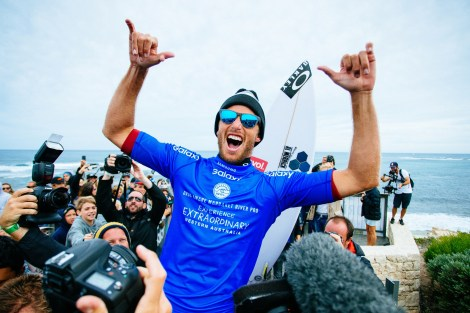 Sebastian Zietz of Hawaii (pictured) celebrates his innuagural WCT victory after winning the Drug Aware Margaret River Pro in Western Australia on Saturday April 16, 2016. PHOTO: ©WSL/ Sloane SOCIAL: @edsloanephoto @wsl This image is the copyright of the World Surf League and is provided royalty free for editorial use only, in all media now known or hereafter created. No commercial rights granted. Sale or license of the images is prohibited. This image is a factually accurate rendering of what it depicts and has not been modified or augmented except for standard cropping and toning. ALL RIGHTS RESERVED.