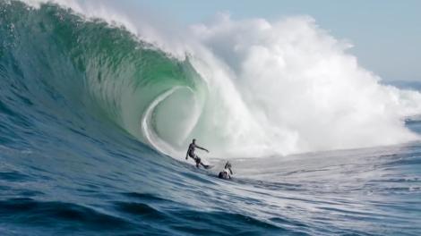 Mick Corbett and Jarryd Foster surf big Shipsterns